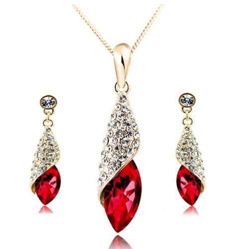 Arabian Beauty Crystal Charm Pendant with Gold-plated 18 Fashion Necklace and Matching Earrings with Imported Crystal Elements (CF-4156-2S01)