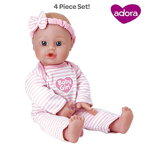 Adora Sweet Baby Girl Doll Washable Soft Body Vinyl Play Toy Gift 11-inch Light Skin & Blue Eyes for Children Age 1+ (Anime Girl With Black Hair And White Eyes)