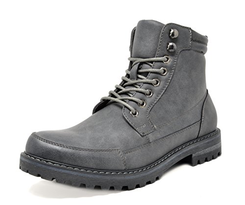 Bruno Marc Men's Engle-01 Grey Motorcycle Combat Oxford Boots Size 8.5 M US