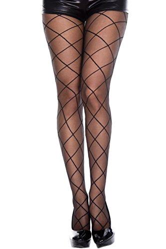(MUSIC LEGS Women's Criss Cross Sheer Spandex Pantyhose, Black, One Size)