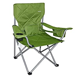 Suzeten Oversized Folding Camping Chairs Quad Arm Chair with Heavy Duty Lumbar Back Support, Cooler Cup Holder, Back Mesh Pocket, Shoulder Strap Carrying Bag Support 350 lbs, Army Green