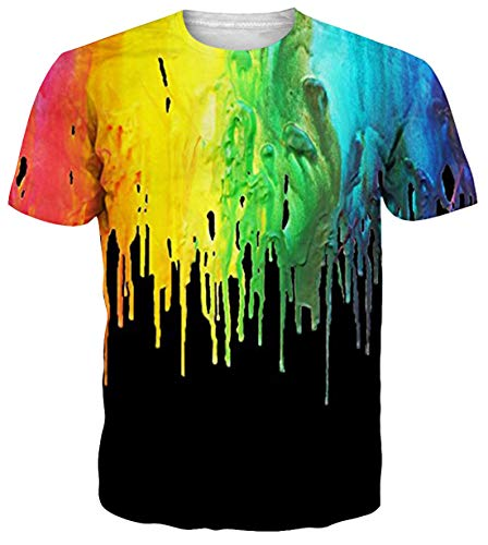 Belovecol Unisex Cool 3D Print Casual Colorful T Shirts Short Sleeve Crewneck Tee Shirts Tops - T-shirt Gay Funny