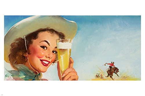 Special Beer Ad 1953 sexy Pin-Up Girl vintage poster cowboy hat Rodeo