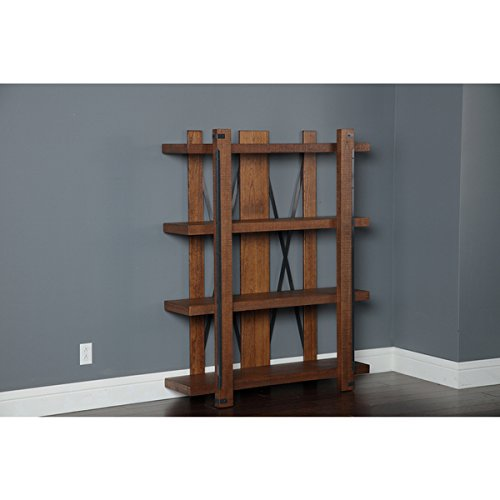 Bookshelves/ Bookcase Casual, Contemporary Four-shelf 60-inch x 48-inch Industrial Bookcase - Assembly Required 33206K. 48 in Wide x 15 in Deep x 60 in High