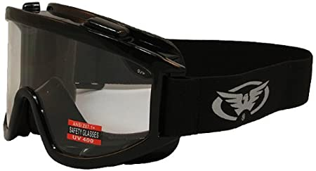 Global Vision Windshield Motorcycle Goggles (Black Frame/Clear Lens) WINDCL