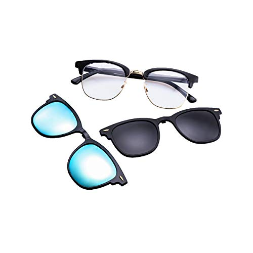 Polarized Clip On Clubmaster Sunglasses with Clear Lens Blue Light Blocking Glasses (C9 Black Frame/Grey Lens Mirrored Blue ()