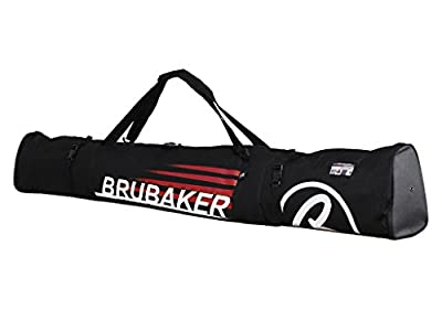 BRUBAKER Henry Champion Combo Ski Boot Bag and Ski Bag for 1 Pair of Ski up to 190 cm, Poles, Boots and Helmet - Black Red