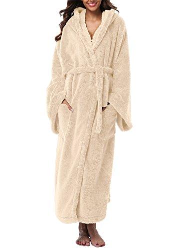 VIKEY Women's Plush Coral Velvet Robe Cozy Long Hooded Bathrobe Nightgown Beige (Bath Robe)