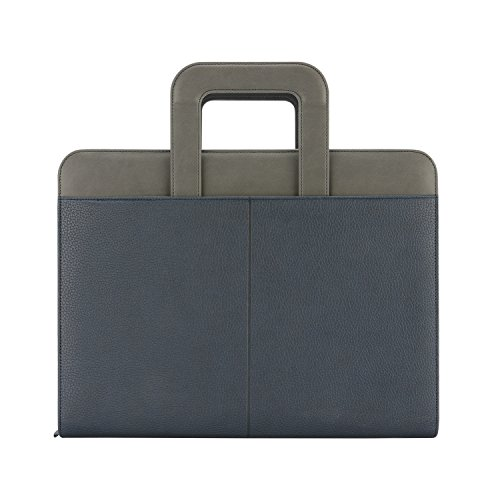 "(NuVision Binder Zip Briefcase Padfolio, Elegant Navy Blue & Grey Stylish Zippered PU Leather Portfolio with Handle, Pockets & Refillable 8 ½ x 11"" Notepad-3 Ring Binder, can Hold Mini Pad! )"