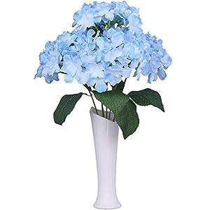 TINGOR 6 Big Heads Hydrangeas Flowers Fake Silk Hydrangea Artificial Flower Arrangements Bridal Bouquet Wedding Party Garden Home Decor (Light Blue) 71
