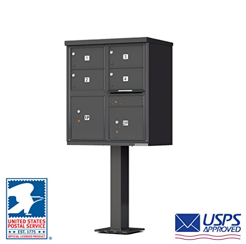 Cluster Mailboxes - Vital Cluster Box Unit, 4 Mailboxes & 2 Parcel Lockers, Dark Bronze