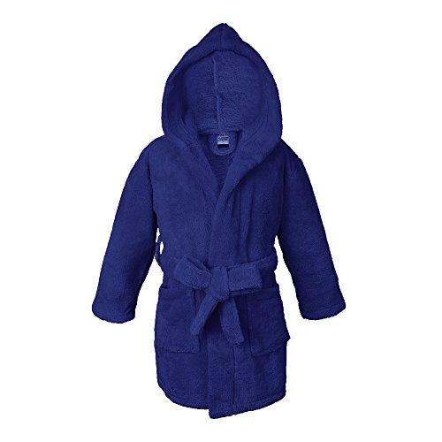 Towel Bazaar Boys and Girls Ultra Soft and Cozy Kids Plush Hooded Fleece Robe (Navy Blue, (Boys Plush Robe)