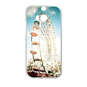 Diy Ferris Wheel Phone Case for HTC One M8 White Shell Phone JFLIFE(TM) [Pattern-1]