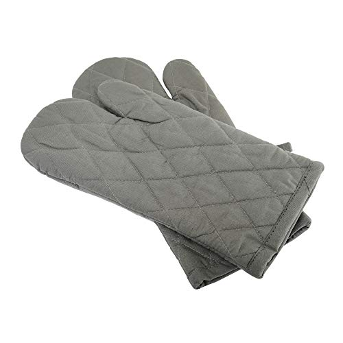 Cote De Amor Set of 2 Oven Mitts Gloves Bulk Heat Resistant and Machine Washable, 100% Cotton Oven Mitts for Everyday Kitchen Cooking Baking BBQ, Grey