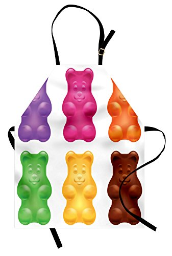 Lunarable Children Apron, Colorful Jelly Gummy Bears Sweet C