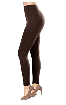 387821791f280 CLOYA High Waisted Fleece Lined Leggings - Sliming Thick Tights (Small/ Medium, Brown
