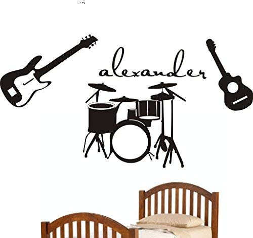 pmxkbzzr Personalized Vinyl Wall Decal Name Wall Sticker Decal Art Mural Musical Instrument Music-Guitars-Drums Wall…