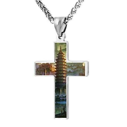 Chinese Style Town High Tower Original Zinc Alloy Necklace Chain with Cross Pendant Stainless Crucifix Pray Gothic Ornaments Unisex Women Men Best Gift (Bridge To Holy Cross)