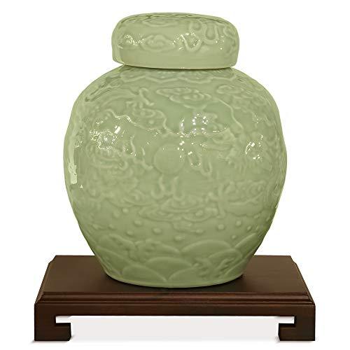 Celadon Jar - ChinaFurnitureOnline Porcelain Jar, Hand Crafted Imperial Dragon Ginger Jar with Lid Green Celadon Glaze