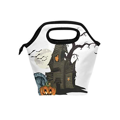 Halloween Bat Pumpkin Lightweight Insulated Lunch Tote Bag