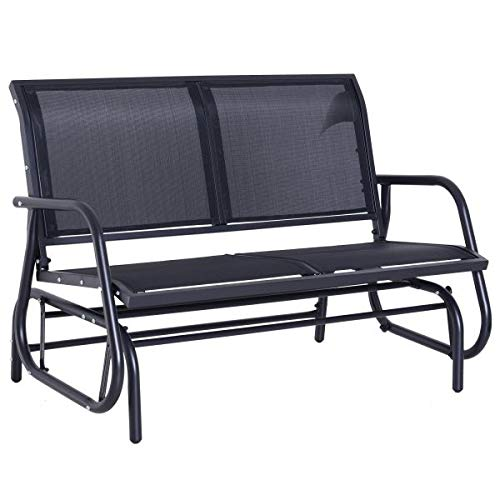 GCLuxury Dark Grey Double Glider Rocking Chair Bench Outdoor Garden Patio Furniture Relax Comfort Seating Poolside Lightweight Sling Fabric