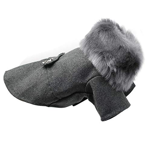 Fanatical-Night Dog Clothing for Dogs Pet Pug Clothes Winter Pet Puppy Dog Coat Jacket with F-ur S-2XL,Gray,XXL -