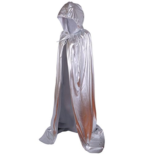 Fantasic LLC Full Length Halloween Cloak Costume witch gothic Cosplay Hooded Long Capes Christmas Party Cape,for women/Aldut/Kids(Silver)