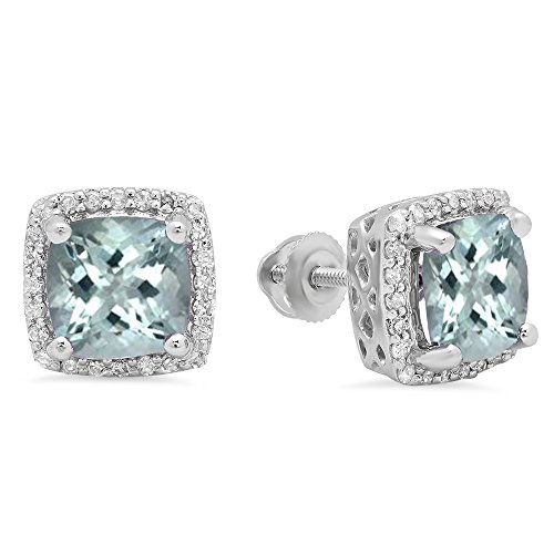 Dazzlingrock Collection 10K 7 MM Each Cushion Aquamarine & Round Diamond Ladies Square Frame Halo Stud Earrings, White Gold (Aquamarine Square Earring)