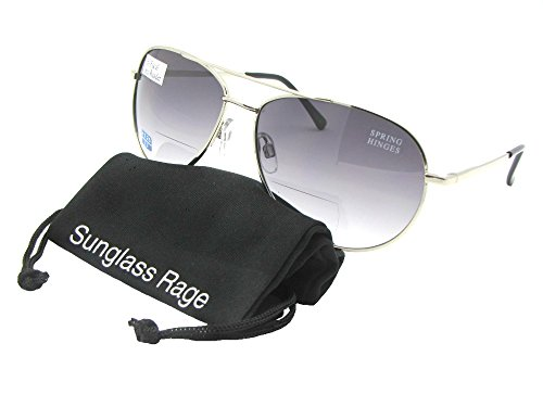 Style B1 Aviator Bifocal Sunglasses (Silver Frame-Gray Lenses, - Face Best Shape For Sunglasses