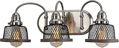 """Luxury Vintage Bathroom Vanity Light, Medium Size: 8.375""""H x 23.375""""W, with Industrial Chic Style Elements, Brushed Nickel Finish, UHP2722 from The Eugene Collection by Urban Ambiance"""