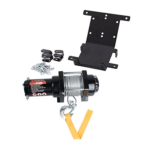 Tusk Winch with Wire Rope and Mount Plate 2500 lb. - Fits: Yamaha Rhino 700 FI 4x4 Auto 2008-2009