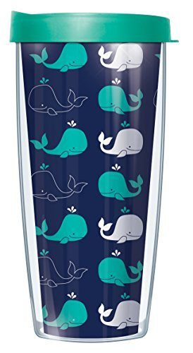 Whale Pattern Teal White on Navy Traveler Tumbler Mug with Lid