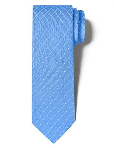Blue Multi Color Tie (Origin Ties Men's Fashion 100% Silk Handmade Painted Spot Easy-matching Pin dots & Plaid 3