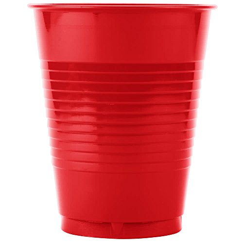 28103181B 16 oz. Classic Red Plastic Cup - 600/Case By TableTop King by TableTop King