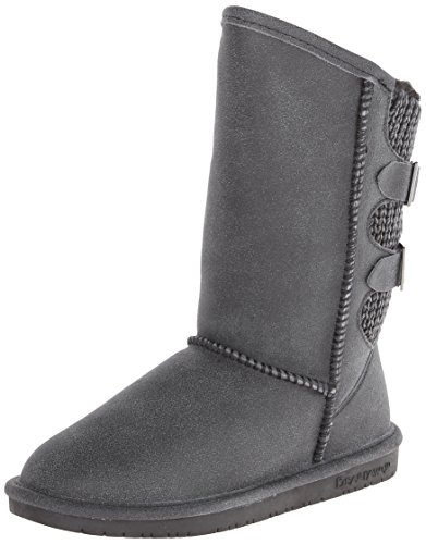 BEARPAW 1669W-009-M060 Women's Boshie Black Distressed Leather Winter Boot, 10