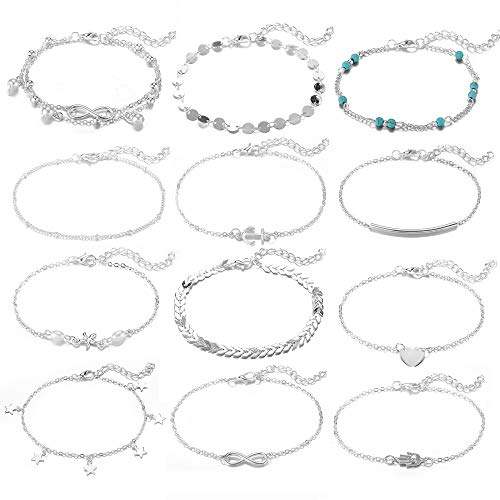 Softones 12Pcs Ankle Bracelets for Women Girls Gold Silver Two Style Chain Beach Anklet Bracelet Jewelry Anklet Set,Adjustable Size (For Silver Sterling Jewelry Women)