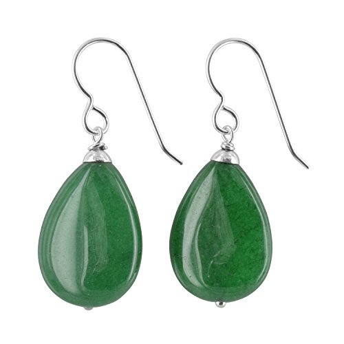 Emerald Green Jade Quartz Gemstone Sterling Silver Handmade Earrings by (Emerald Jade Earrings)