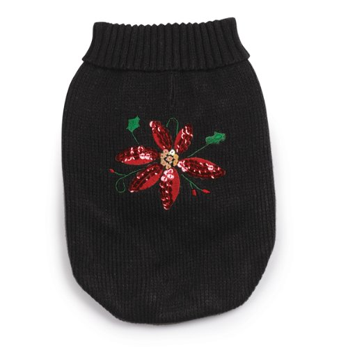 Zack and Zoey Acrylic Poinsettia Dog Sweater, XX-Small, Black, My Pet Supplies