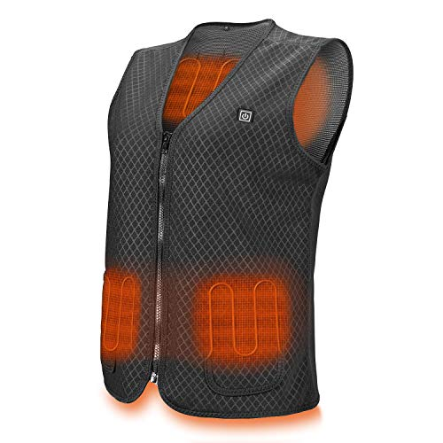 41%2BNHoEt7VL - Lightweight Heated Vest, 5V USB Charging Warm Vest for Outdoor Camping Hiking Golf, Washable Heated Clothes Built-in 5 Pcs Heating Therapy Pad Fits Men and Women (Battery Not Included) (Black-L)