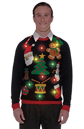 Forum Novelties Adult Everything Light-Up Ugly Christmas Sweater, Multi, -