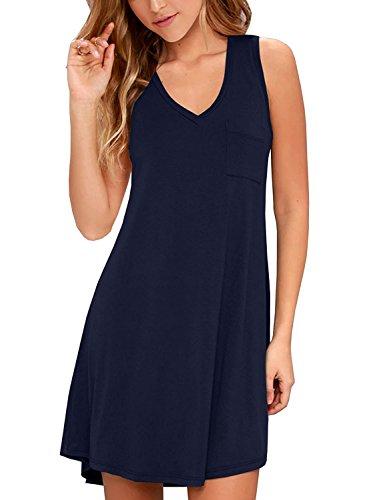 (TIMOCHALA Women's Summer Casual Loose Swing Pleated Knit T-Shirt Sundress (S, Navy Blue))