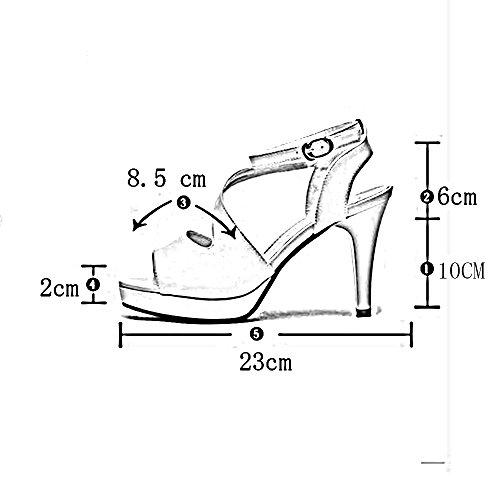 Chunky Chanclas Pu 4 De color Sandalias Summer Y Elegante uk4 Noche Blanco Comfort Mujer Blanco Peep Toe Heel Sandals cn37 Zapatos Boda Duo Fiesta Informal Tamaño 5 Para Tacones Eu37 IvFqx5qY