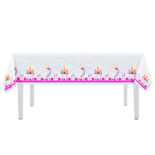 53 x 90 Inches 2pk 2Pk Larger Size Unicorn Plastic Table Cover,Disposable Unicorn Tablecloth Magical Unicorn Party Supplies