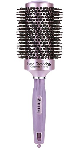 BIBTIM Round Hair Brush Twill with Boar Bristle for Blow Drying, Curling & Straightening, Professional Salon Styling Brush, Nano Technology Ceramic for Perfect Volume & Shine, Purple (2 inch)