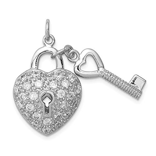 925 Sterling Silver Cubic Zirconia Cz Heart Lock Key Pendant Charm Necklace Love With Fine Jewelry Gifts For Women For - Zirconia Cubic Key Necklace