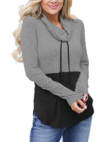 (Womens Long Sleeve Scarf Neck Colorblock Pullover Sweatshirts Grey)