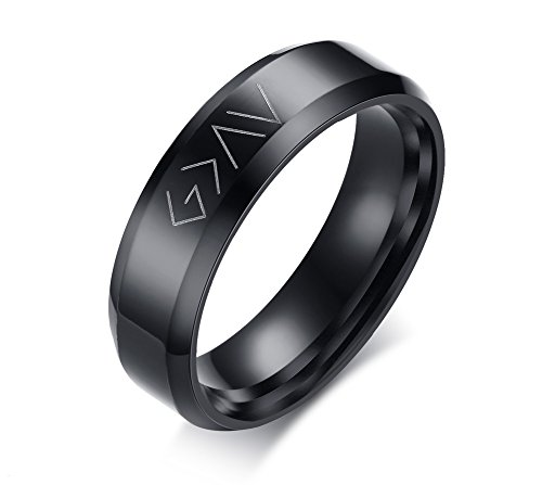 MP Men's Stainless Steel God is Greater Than The Highs and Lows Christian Symbol Promise Ring Black