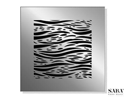 SABA Home Decor 14'' x 14'' Duct Opening (17'' x 17'' Overall) FiberGlass Decorative Grille Vent Return Register Easy Air Flow Mirror Finish Cover For Walls and Ceilings (not for Floor use) - Waves by SABA (Image #2)