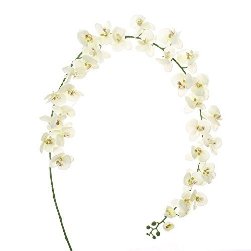 Felice Arts Artificial Flowers 6.6ft 32 Heads Butterfly Orchid Home Decor Fake Flower for Wedding Home Office Party Hotel Restaurant