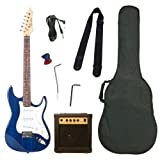 Barcelona Blue Electric Guitar Package with 10 Watt Amp – Beginner Kit